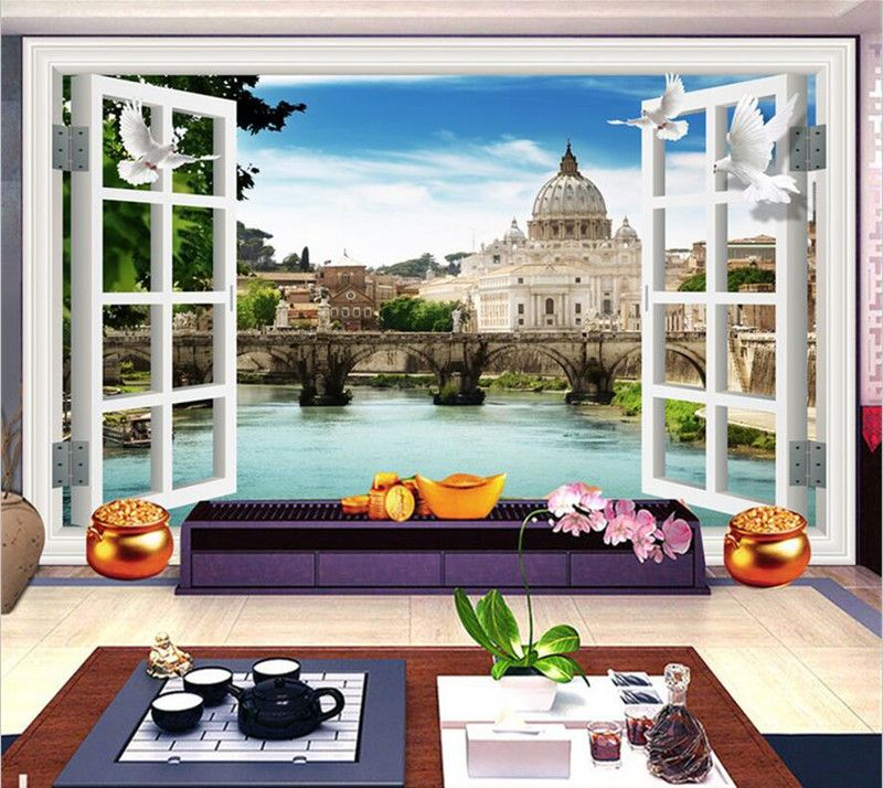 Custom 3D Stereo Wallpaper Murals Window Outside European Scenery Living Room TV Wall Decoration Painting Papel De Parede 3d