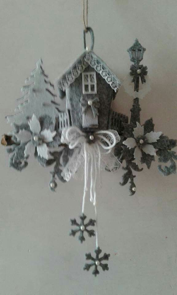 Decorazioni Natalizie In Feltro Pinterest.Paesaggio Natalizio In Feltro E Pannolenci Rozhdestvo Natale