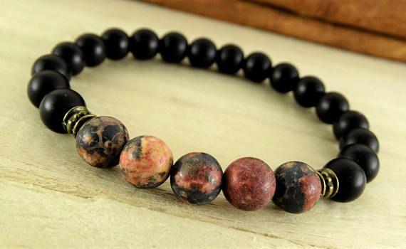 Black Onyx Bracelet Matte Jasper Yoga Men Mens Bead Gift For Jewelry