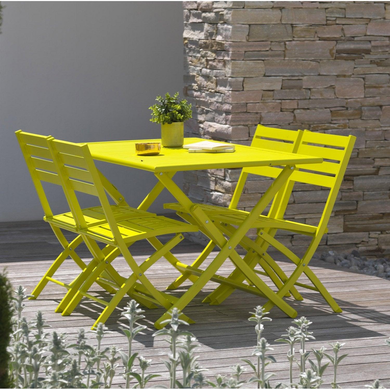 Salon de jardin Marius aluminium jaune, 5 personnes  Salon de