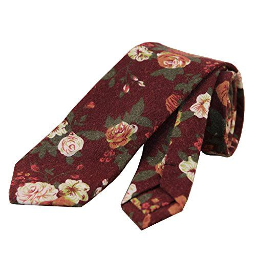 Mantieqingway Men's 6cm skinny tie Cotton Printed Slim Sharp Necktie