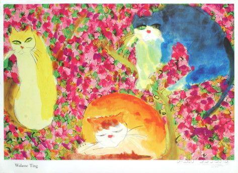 Walasse Ting Posters | Three Cats in Flowers Impressão de peças de coleções