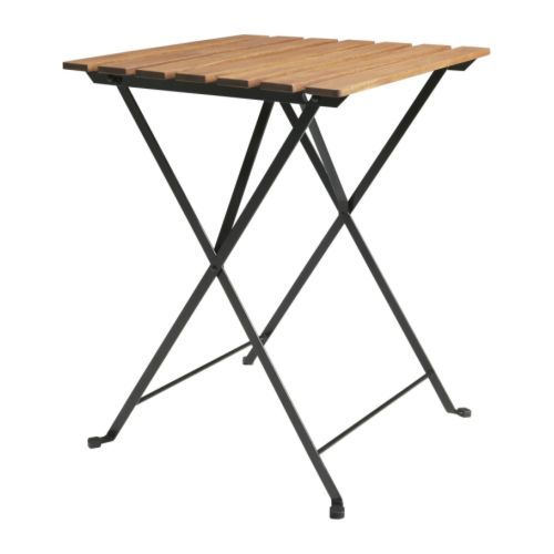 Tarno Table Outdoor Black Acacia Steel Gray Brown Stained Light Brown Stained Ikea In 2020 Outdoor Folding Table Ikea Outdoor Furniture Ikea Folding Table