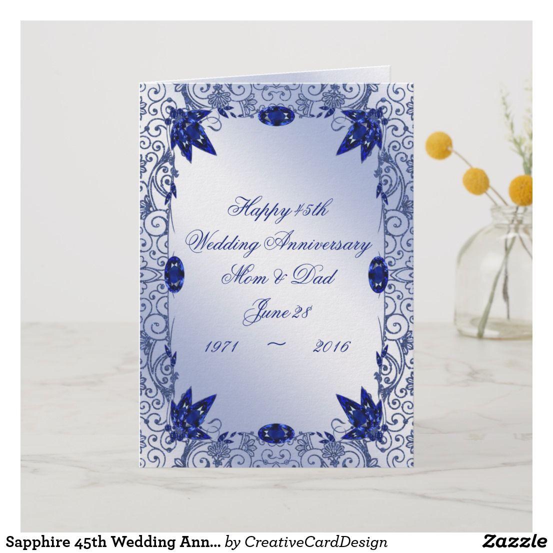 Sapphire 45th Wedding Anniversary Greeting Card Zazzle