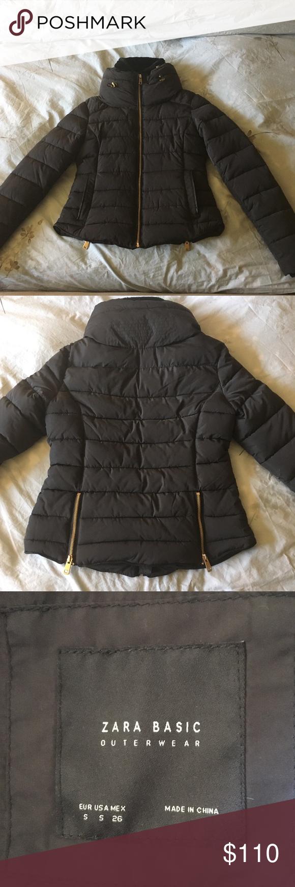 Zara Basic Jacket It S A Black Winter Jacket With Gold Accents Zara Jackets Coats Puffers Fashion Zara Basic Jackets [ 1740 x 580 Pixel ]