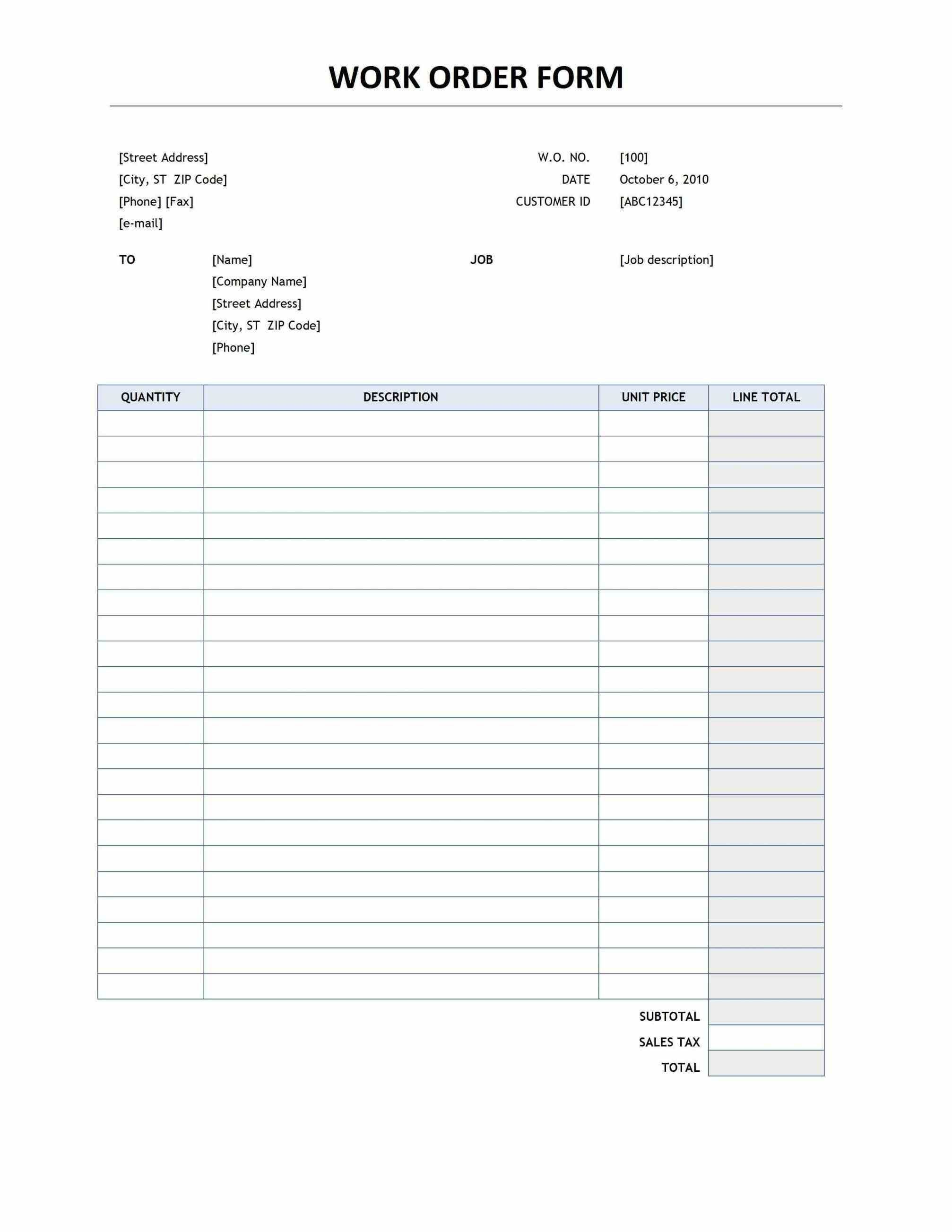 Unique Job Work Order Template Exceltemplate Xls Xlstemplate Xlsformat Excelformat Microsofte Business Card Template Word Estimate Template Word Template