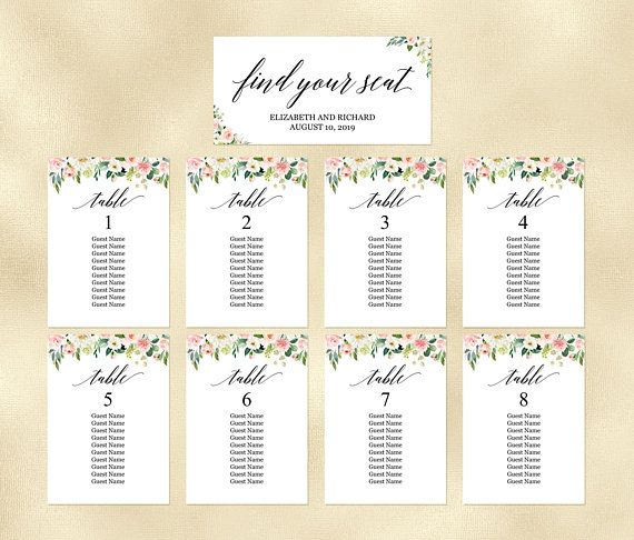 floral seating chart template editable calligraphy blush peach hanging seating plan cards seating arrangement