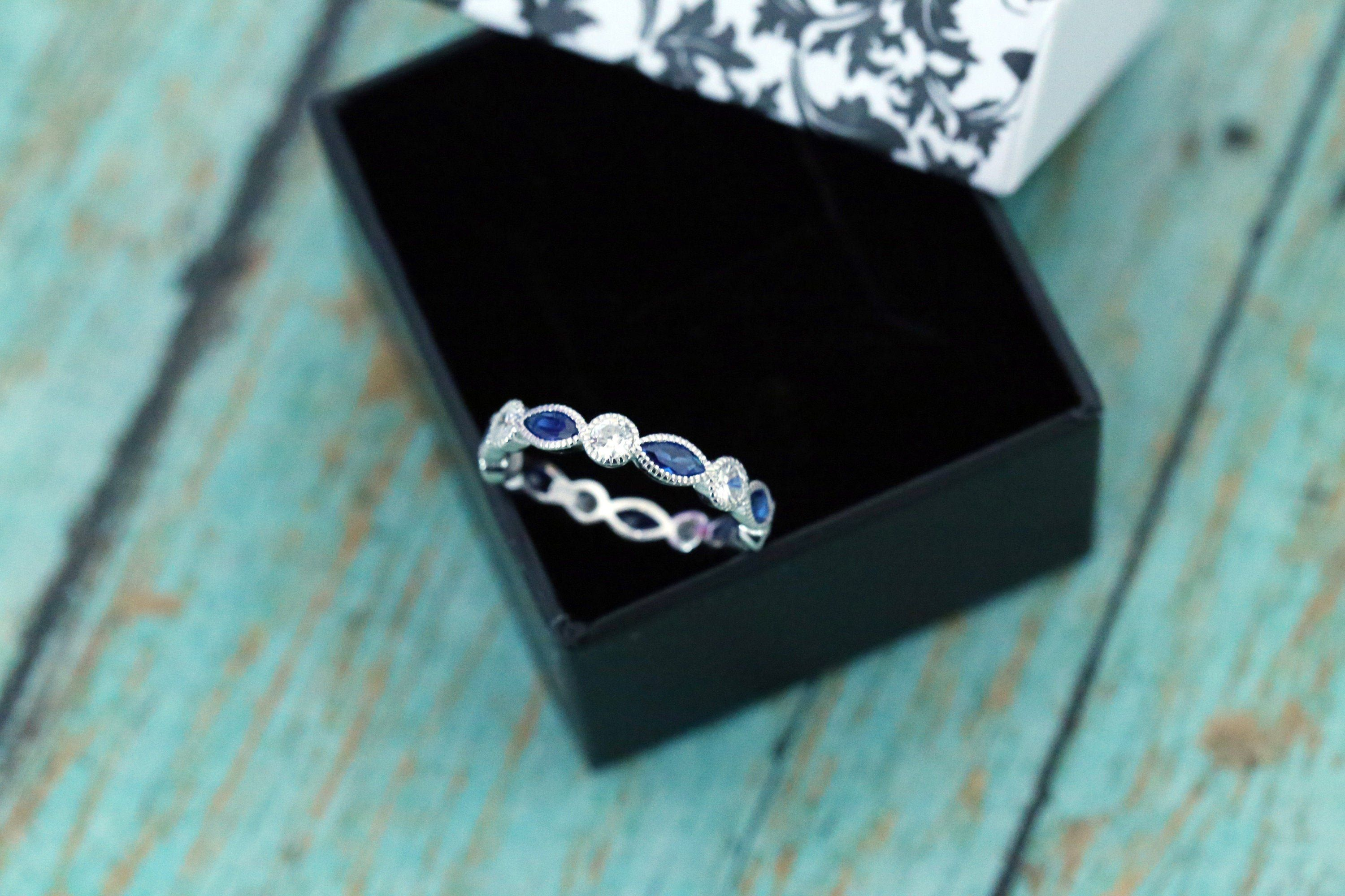 Sterling Silver Sapphire Marquise and Round Eternity Band