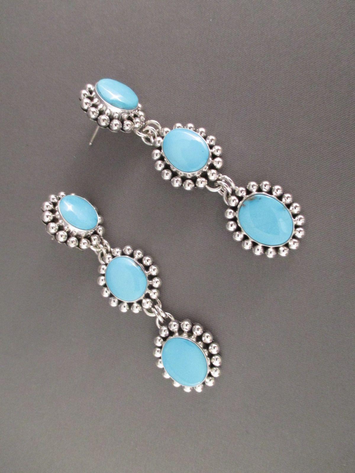 3-Tier Sleeping Beauty Turquoise Earrings by Native American (Navajo) jewelry artist, Artie Yellowhorse $665-