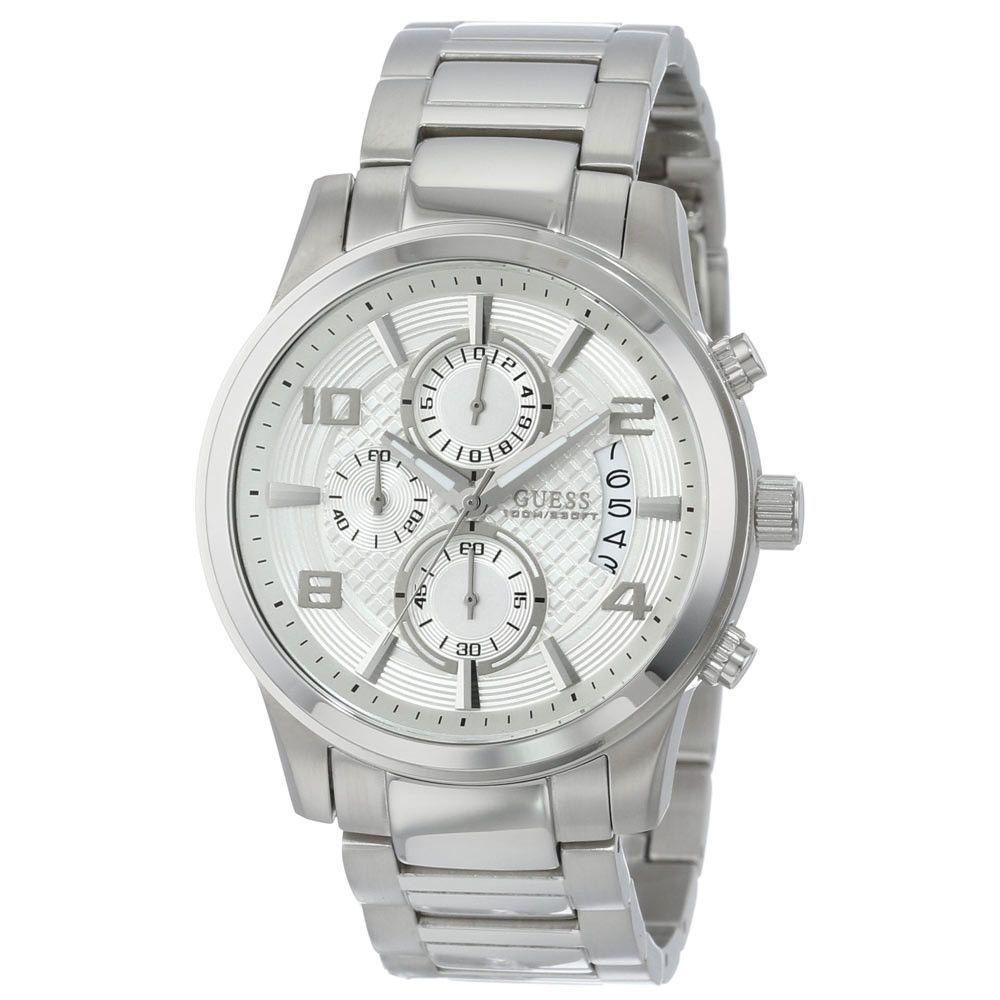 Guess U0075G3 Men's Masculine Retro Dress Silver Dial Steel Bracelet Chronograph Watch