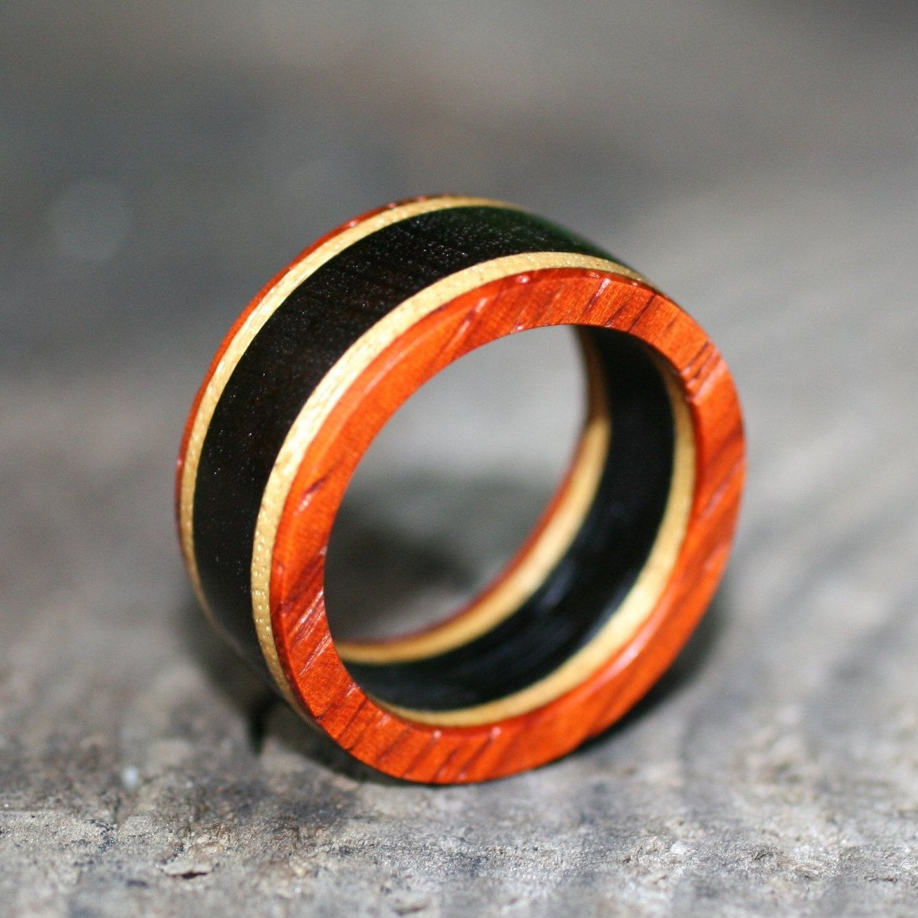 Classic Multicolored Womens Wood Ring Cute Tri Color Wood Ring