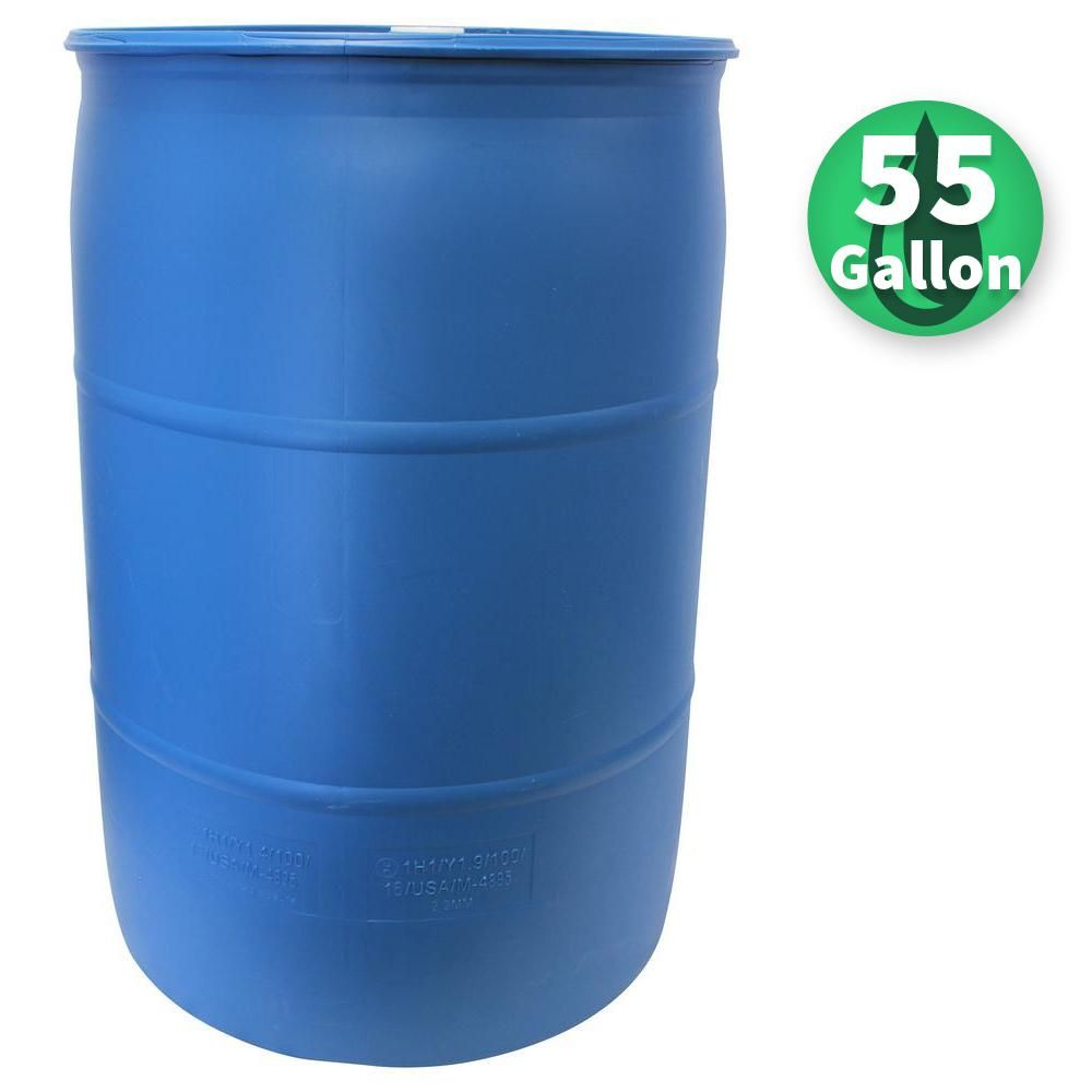 Emsco 55 Gal Paintable Blue Industrial Plastic Rain Barrel 2770 1 The Home Depot Rain Barrel Rain Barrel Kit Rain Water Collection