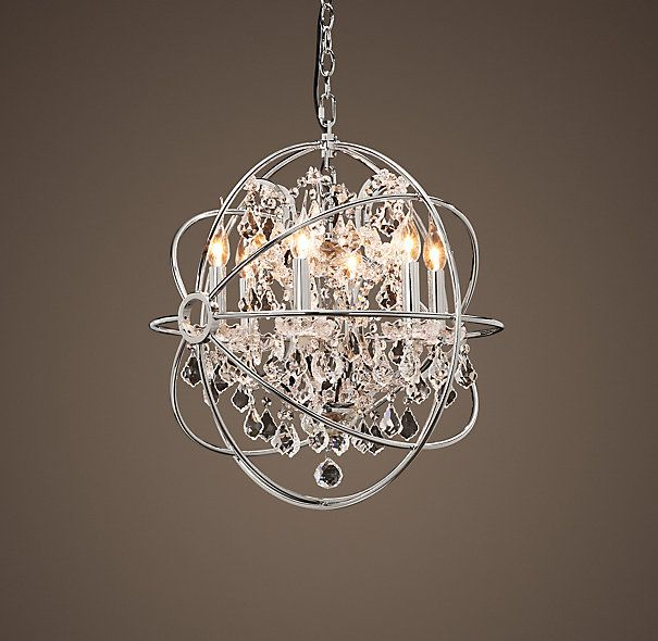 Foucault 39 s orb crystal chandelier polished nickel small - Small bathroom chandelier crystal ...