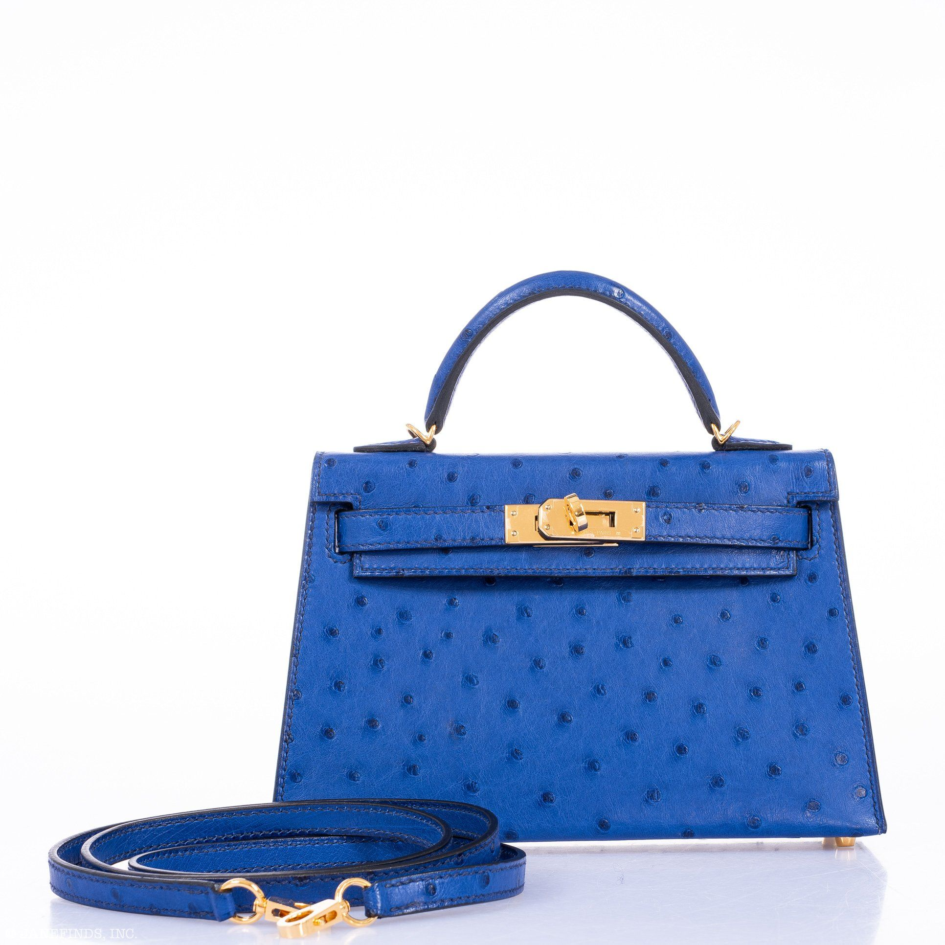 be24ee4dd5 Hermes Kelly 20 Mini Sellier Blue Electric Alligator Gold Hardware –  JaneFinds