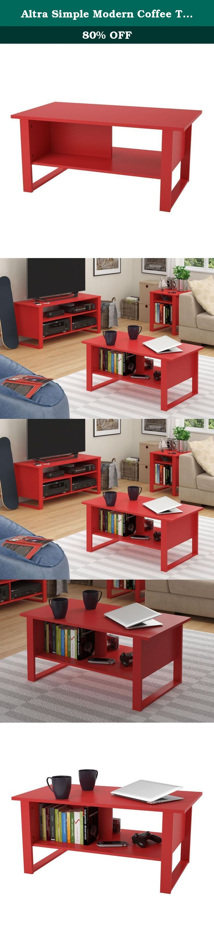 Altra Simple Modern Coffee Table in bright ruby red Make your