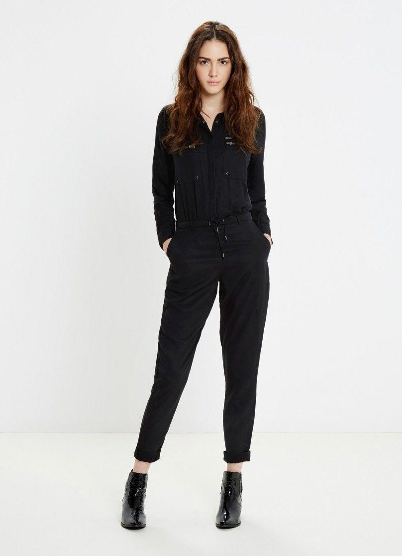 56195b687f COMBI-PANTALON FLUIDE NOIR MILITAIRE RITA Pepe Jeans prix Combinaison Femme  Pepe Jeans London 140.00 €