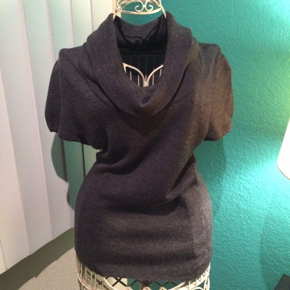 Wool Grey Swoop Neck Top Small tear in armpit see last photo. Other than that great condition. 100% wool. Fever Tops