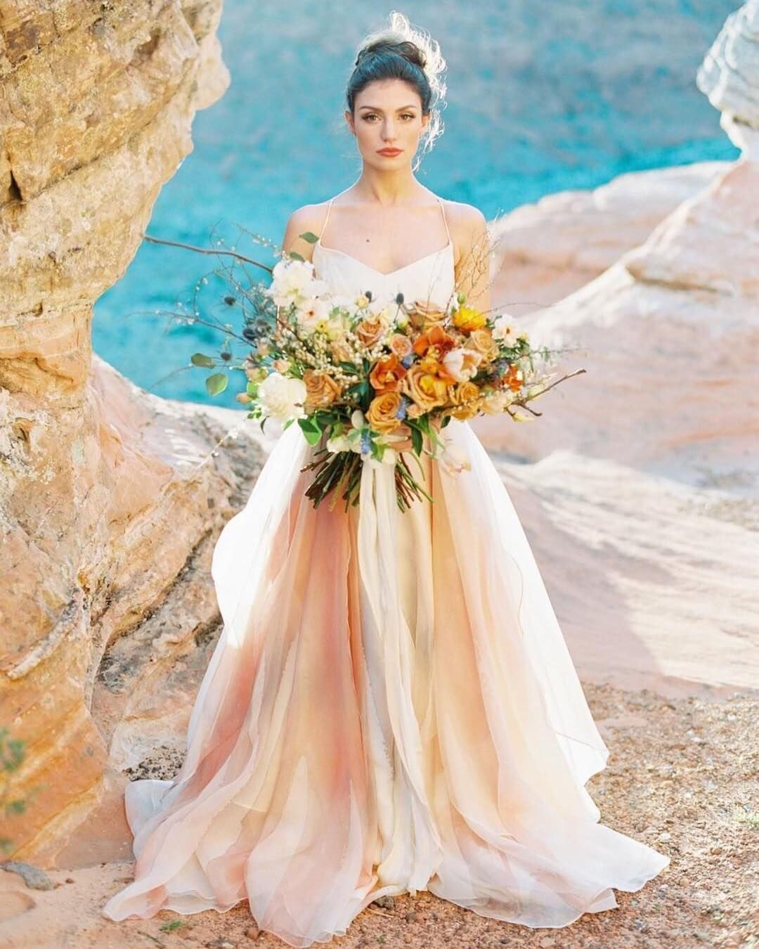 Gorgeous Wedding Dress Shot At The Beach With Earth Tones Plus A