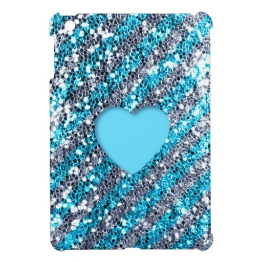Blue Stripe Glitter Look Heart iPad Mini Cover