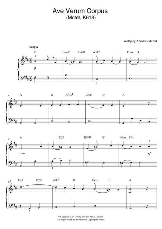 Ave verum corpus (W.A. Mozart) - PDF sheet | Free Gig Music