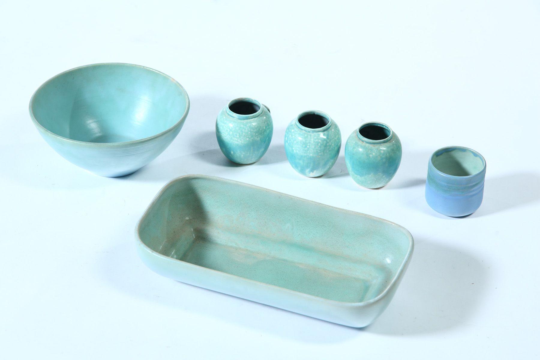 Six Pieces Of Pereny Pottery Ohio C 1930s Pottery Ceramic Engineering Pottery Art
