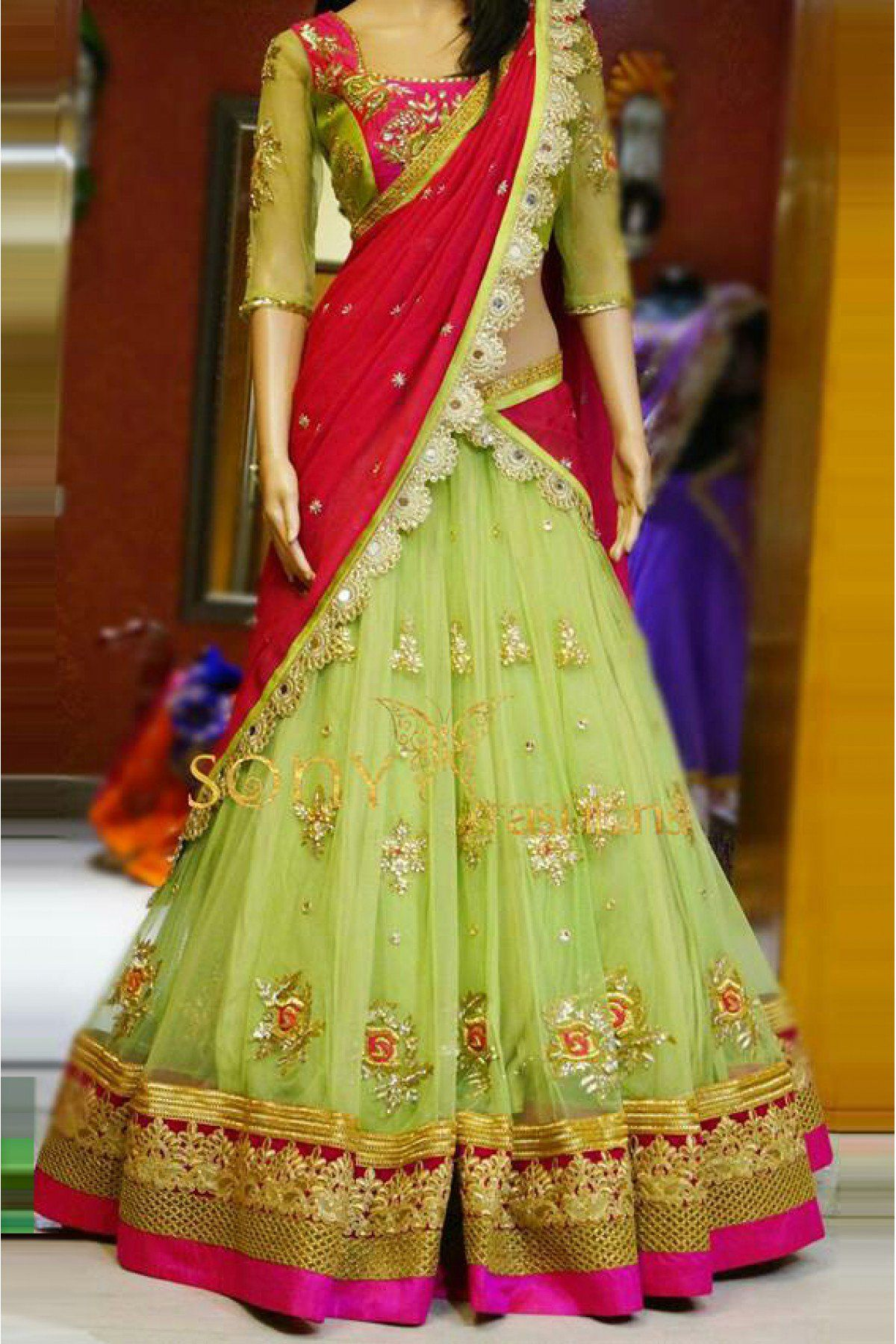 2504f59ebc This Super Stylish Net and Georgette Lehenga Choli Is Exclusively Crafted  With Embroidery Lace Work Patch Work. The Light Green Colour Lehenga Choli  Comes ...