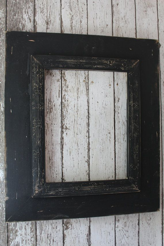 11x14 or 12x12 Wide Wood Uber Distressed Wood Frame Shabby Black on ...