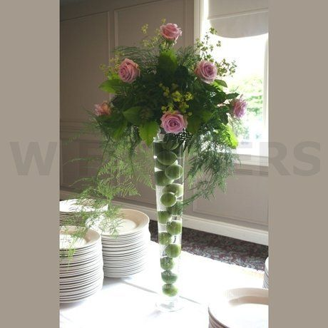 W Flowers product: Tall Wedding Centerpiece with Purple Roses