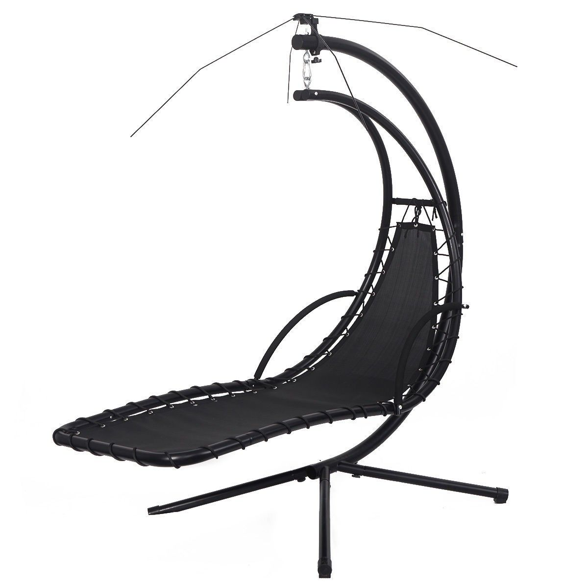 Hanging Chaise Lounge Chair Arc Stand Air Porch Swing Hammock Canopy Orange - Lawn u0026 Garden  sc 1 st  Pinterest & Hanging Chaise Lounge Chair Arc Stand Air Porch Swing Hammock ...
