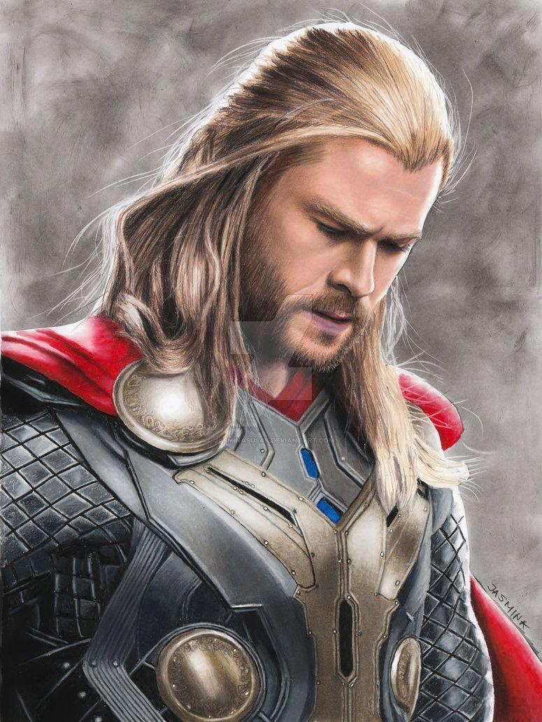 Colored pencil drawing chris hemsworth as thor by jasminasusak from deviant art