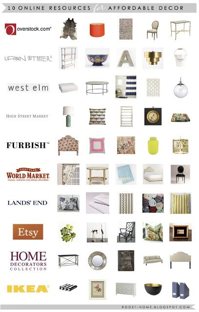 On line resources for affordable decor.