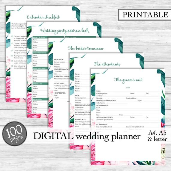 Printable Wedding Planner, Wedding Planner Printable