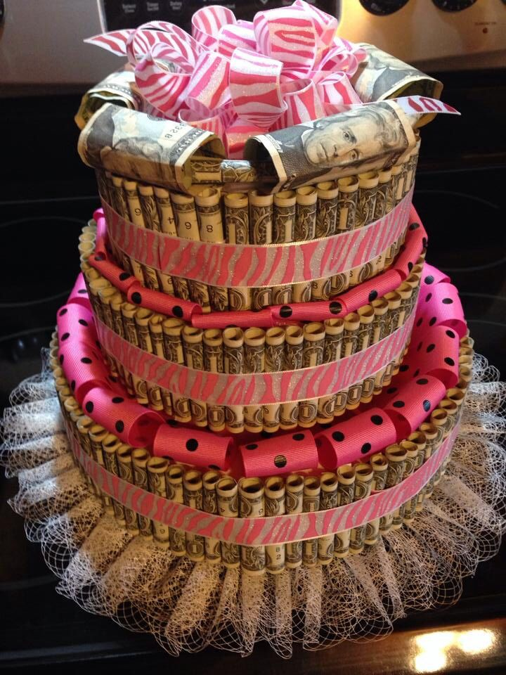 Layered cake made out of rolled dollar bills & ribbon/ tulle.  Baby ...