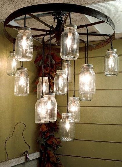 Mason Jar Lighting Off Antique Wagon Wheel Home Ideas