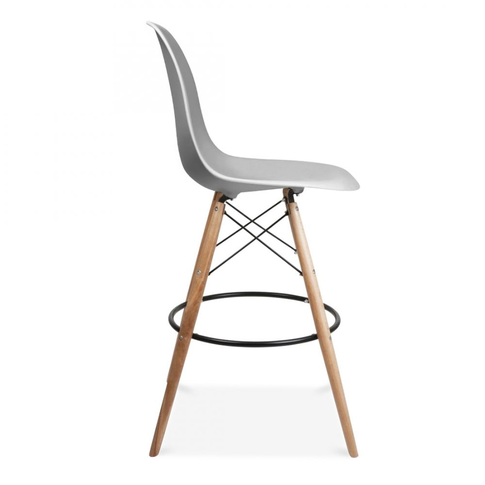 Iconic Designs Dsw Style Stool With Backrest Light Grey 71cm