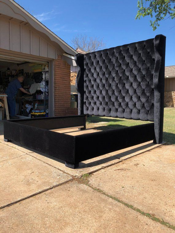 Best Tufted Tall Headboard Wingback Bed Frame Curvy Velvet 400 x 300