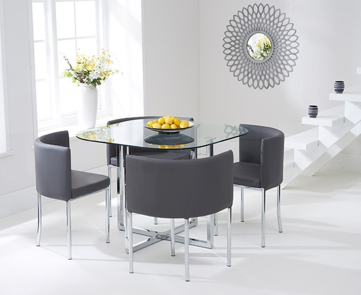 £ 159 Charles Jacobs Dining Table With Four Chairs Set In Black Round  Tempered Glass, Space Saver,New 2016 Cushioned Contemporary Design For  Extra U2026