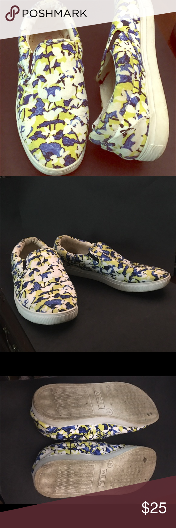 Peter Pilitto blue white floral cloth flats sz 9 Peter Pilitto blue white floral cloth flats  gently worn size 9 Anthropologie Shoes Sneakers