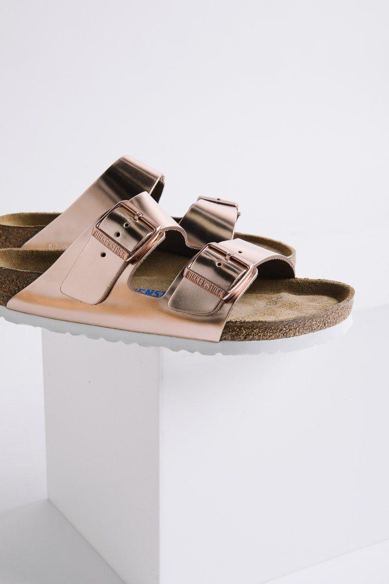 3dc6ca63e5e5 BIRKENSTOCK  Arizona Soft Footbed Metallic Copper Leather w  White Sole in  Narrow Fit
