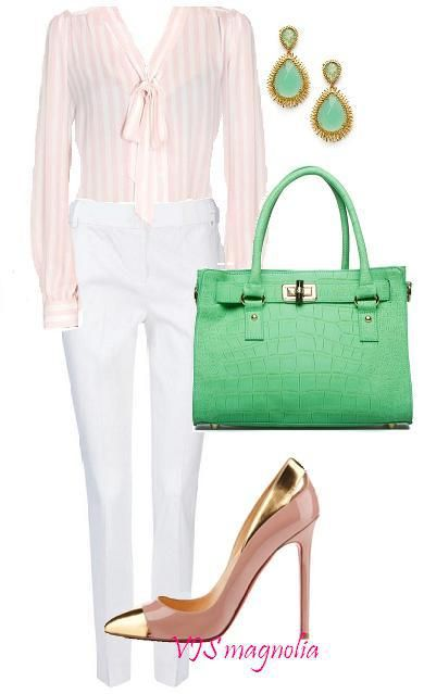 pink stripes and green. office style