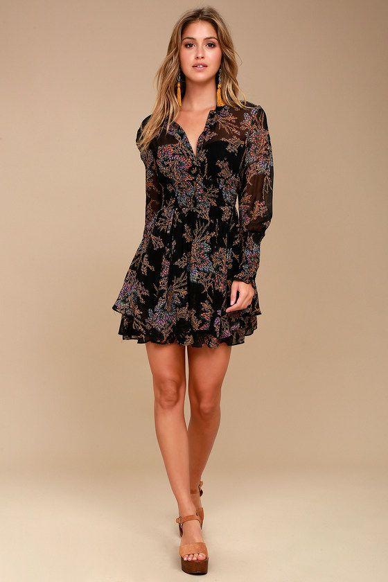 7ca7b8e64e Free People Fake Pretend Black Print Long Sleeve Mini Dress 1