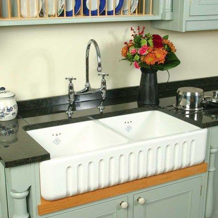 Shaws Ribchester White Ceramic Double Bowl Fluted Apron Front Sink 795 X 465mm Ceramic Kitchen Sinks Kitchen Sink Design Butler Sink