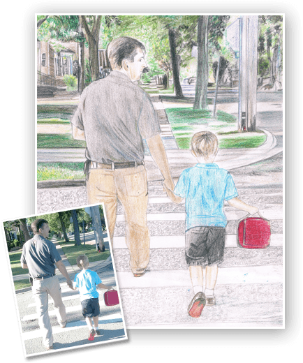 Colored Pencil Portrait Of A Father And Son The Best Way To Gift Your Father On His Birthday Whatapo Colored Pencil Portrait Colored Pencils Pencil Portrait