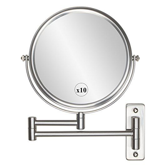 Alhakin 8 Inch 10x Magnification Wall Mount Makeup Mirror Nickel Finish Wall Mounted Makeup Mirror Extendable Bathroom Mirrors Mirror