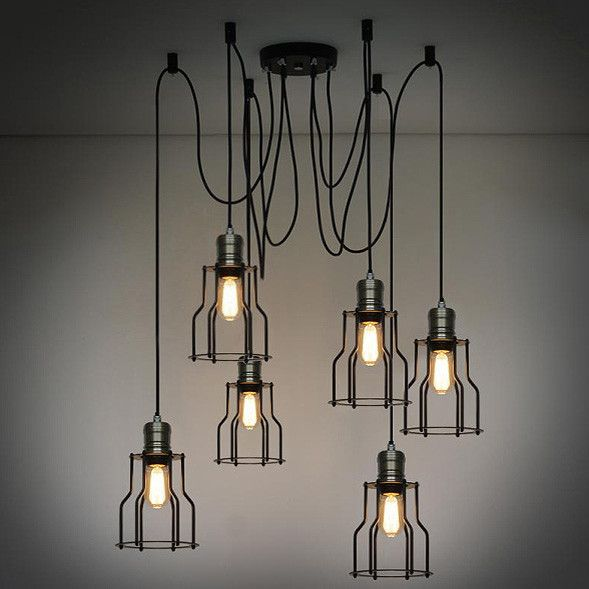 6 Head Industrial Wire Cage Chandelier Pendant Lights
