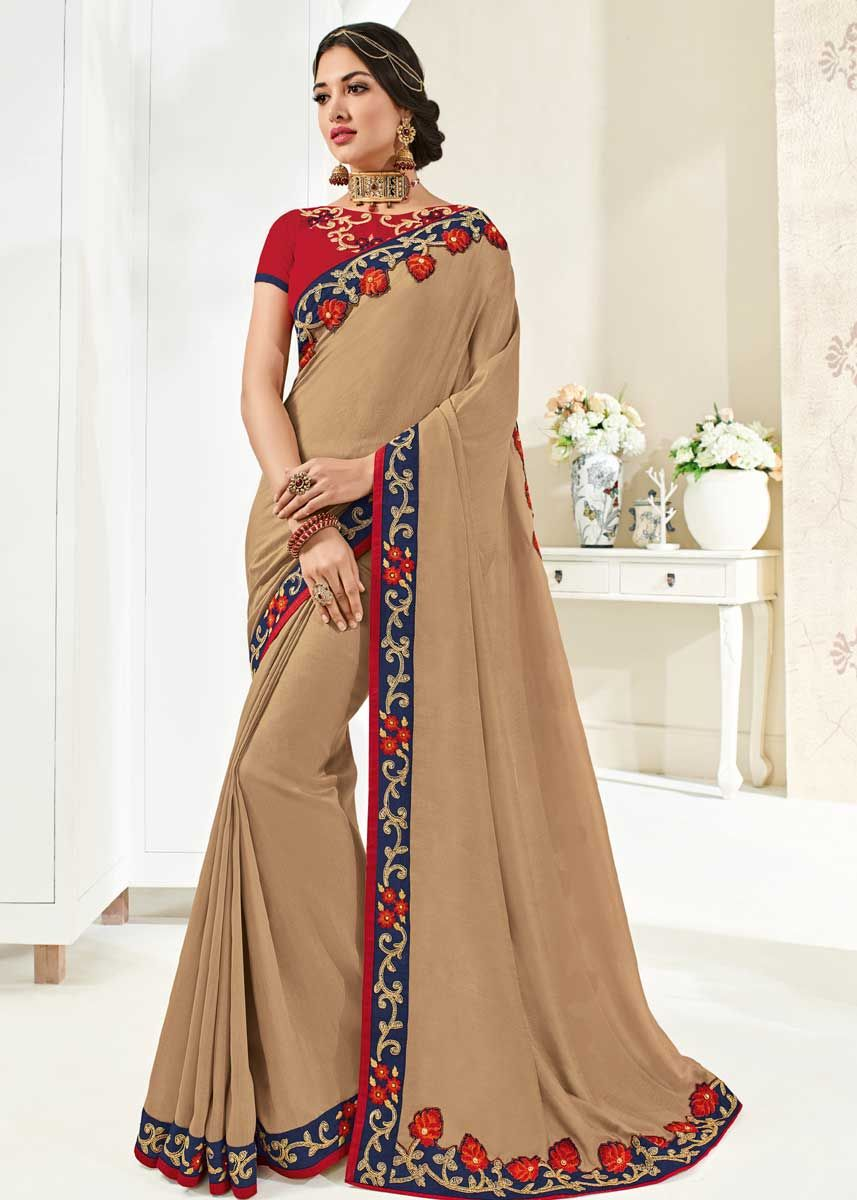 Look Ravishing In This Adorable Beige Color Silk Fabric Party Wear