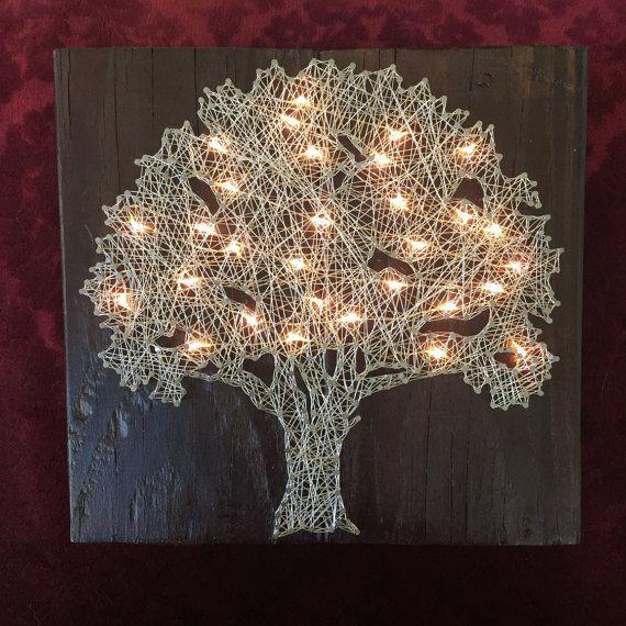 Illuminated tree wire string art/ tree accent light/tree night light/tree art/ wire art/ string art/ unique art #stringart