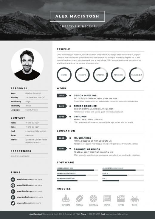 Header For Resume Mono Resume Template Features A Bold Editable Logo Header Which Is .