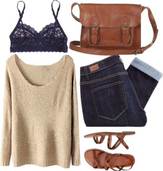 love the lace bra under pullover combo!