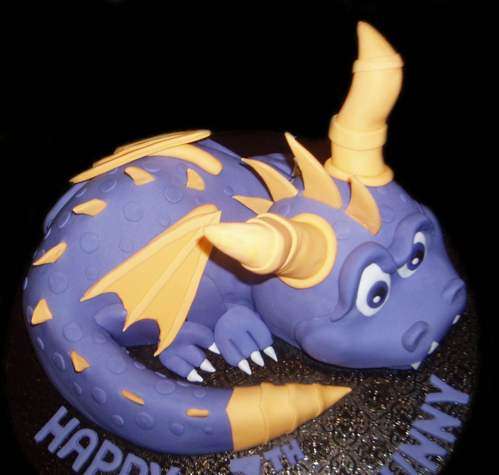 sculptured cake of spyro the dragon for kids birthday made by